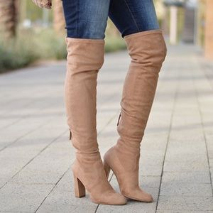 STEVE MADDEN Nude Suede Over the Knee Heeled Boots